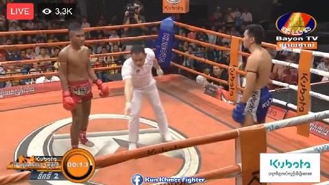 រឹទ្ធ ភូលូ ឡូយមែនវាយជួបថែមសន្លប់ Rith Phulu vs Fanimith(thai) Bayon Kun Khmer 08032019